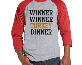 Winner Winner Turkey Dinner - Funny Adult Thanksgiving Shirt - Funny Men's Thanksgiving Dinner Shirt - Mens Red Raglan - Funny Food Shirt