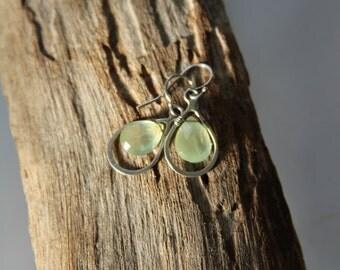 Prehnite earrings - Green earrings - Dangle earrings - Drop earrings - made in Israel.