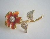 Vintage Jewelry Rose Flower Clear Rhinestone Gold Tone Signed Nolan  Miller