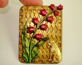 Lily of Valley  Dog  Brooch Red Green  Gold Tone Repousse  KL Design