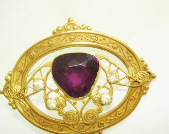 Amethyst Stone Antique Gold Tone  Brooch