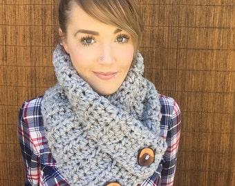 The Aquene || Chunky Wool Grey Marble Infinity Cowl w/ Reclaimed Wood Buttons Collar Scarf Fashion Black Brown Cream Flecks Wrap Accessory