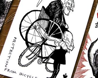 Bicycle Mishap Postcard * Portable Fortitude