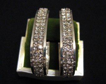 BIG Vintage Silver Plated Pave Crystal Diamond Rhinestone Wide Teardrop Hoop Pierced Earrings