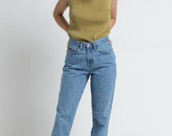 Vintage 90s Olive Minimal Ribbed Silk Knit Tank | S