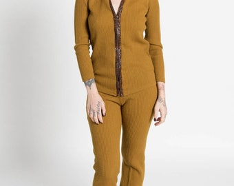 Vintage 60s Mod Mustard Ribbed Knit Two Piece Jacket and Cropped Pant Set | S