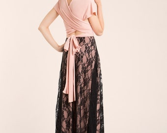Light pink long lace dress, blush pink bridesmaid dress, peach lace dresses, bridesmaid lace dress, lace dresses, prom dress, romantic gown