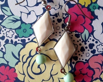 Mint and White Diamond Faceted Gemma Earrings