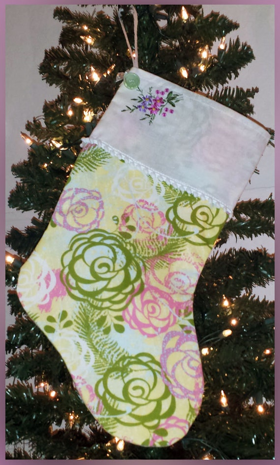 Christmas Stocking - Yellow, Green, Pink, & Lavender Floral Print, With Vintage Hankie Handkerchief Cuff - FREE SHIPPING
