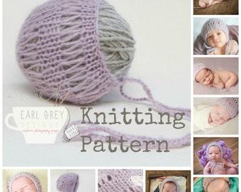 PDF Knitting Pattern- Newborn Baby Girl Lace Knit Bonnet
