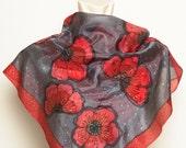 Gift Hand Painted Silk Scarf Foulard with Red Poppy Field  Red Orange Black Grey 17 x 17.