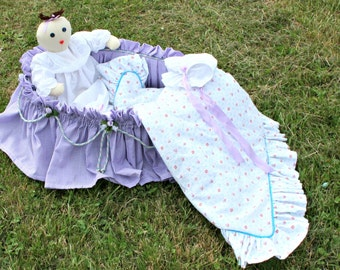 Doll, Sacque, Diaper, Bonnet, Blanket and Bassinet