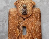 Jeweled Amber Hamsa switch plate cover, polymer clay, embellished with rhinestones, light brown amber, one of a kind