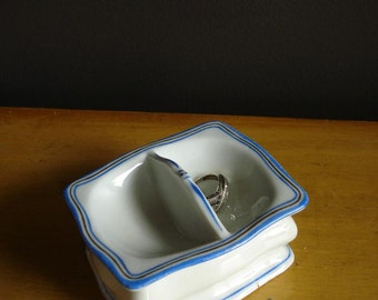 Tiny Divided Dish - Vintage Blue and White and Gold Salt Dish