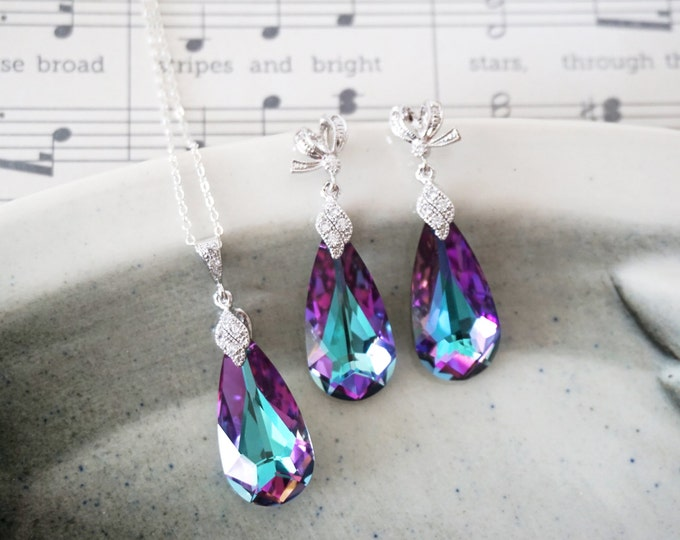 Katelyn - Jewelry Set - Swarovski Vitrail Light Purple Teardrop Crystal Necklace and Earrings, Cubic Zirconia Necklace, Bridal, Bridesmaids