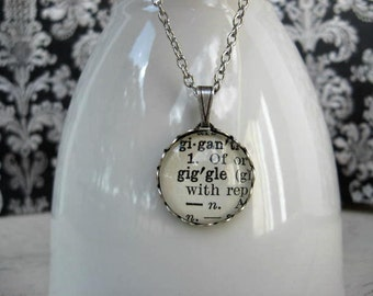 Word Necklace - Dictionary Necklace - Giggle - Round Pendant