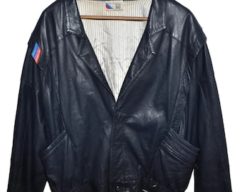 BMW M STYLE 1980s Vintage Midnight Blue Lambskin LEATHER Jacket Mens Medium M