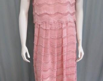 Designer Ballerina Pink fringed silk dress size Small