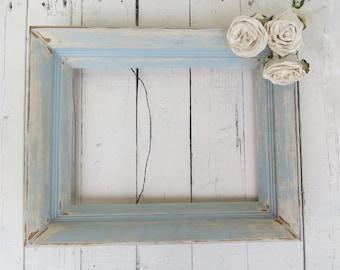Beach House Frame, Vintage Frame, Blue Frame, Rustic Frame, Shabby Cottage Decor, Beach Cottage Decor, Weathered Decor, 9x12 Wooden Frame
