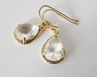 Crystal Bridal Earring,Clear Drop Earrings,Teardrop Earrings Gold, April Birthstone,Crystal Earrings,Crystal Wedding Jewelry,April Gift Idea