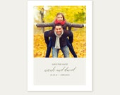 Letterpress Save the Date Photo Card-Calligraphy,Traditional, Elegant, Simple, Classic, Custom, Formal, Destination