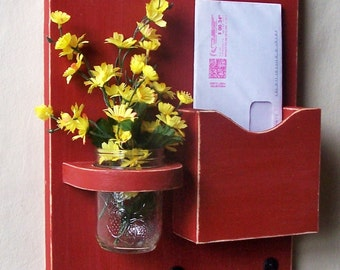 Mail Holder - Key Hooks - Jar Vase - Organizer - Painted Distressed Wood