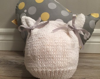 Spring in white cotton baby hat (0/3 months)