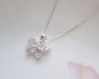 Tiny Crystal Butterfly Necklace - Girl's or Ladies Tiny Butterfly Charm Necklace - Butterfly Necklace - Silver Butterfly Necklace