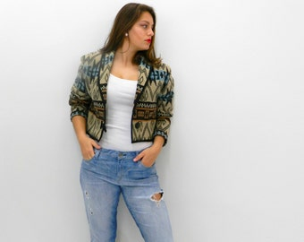 Vintage Cropped Jacket ... 1980s Southwestern Tapestry Jacket ... Size  Small to Medium