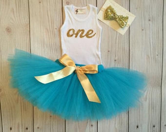 Turquoise and Gold 1st Birthday Dress Tutu Outfit for Baby Girls, One Top