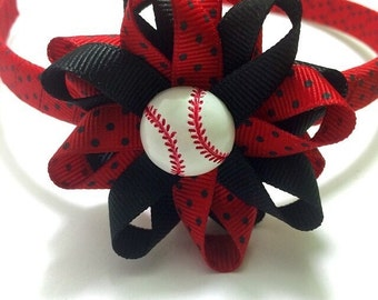 "Baseball Hair Bow, Red & Black Headband, Handmade Hair Bow, 2.5"" Baseball Hair Bow, Wrapped Headband, Made To Order, Sports Bow, ANY COLORS"