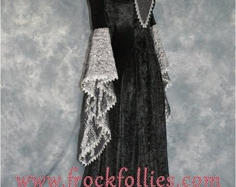 Gothic Dress,Medieval Gown,Elvish Dress,Halloween Dress,Custom Made,Hand Fasting Dress,Robe Medievale,Robe Elfique,Renaissance Dress,Raven