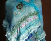 RESERVED FOR NOTA-- Winter blues- bohemian shawl, soft cotton jersey, shades of turquoise, hand stitched, vintage trims