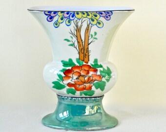 Vintage Luster Ware Fan Vase Hand Painted Lusterware Fan Vase