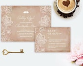 Wedding Invitation, Pink, Love Birds, White Lace, Vintage, Rustic, Printable Invites, Elegant, Bridal Shower, Romantic, Shabby Chic, Doily