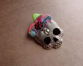 Rainbow Mushroom-Cluster Skull Pin