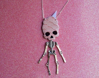 Snackhead Skeleton Necklace, skeleton necklace, skull jewelry, cotton candy jewelry, skull necklace, vegan necklace - COTTON CANDY
