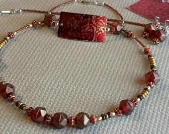 Deep Reds and Golds - Necklace, Bracelet and Earring Set made with Artisan Copper Connector