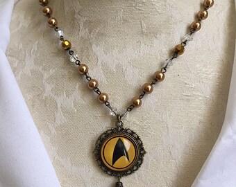 Star Trek Star Fleet Command TOS Necklace Gold x Antique Gold