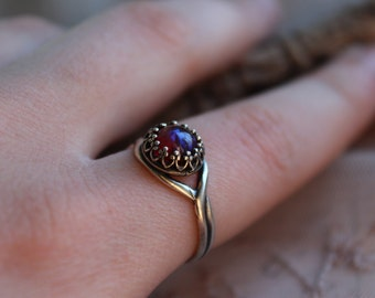 Dragons Breath Silver Ring, 8mm Sterling Silver Finish Fire Opal Ring, Dragons Breath Opal Ring, Mexican Fire Opal, Trendy Gifts