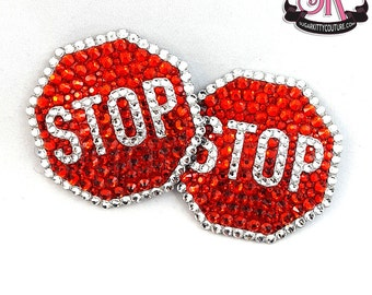 Stop Sign Rhinestone Nipple Pasties - SugarKitty Couture