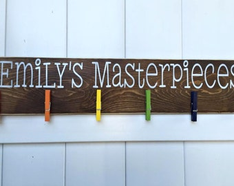 Child's Art Display // Masterpieces // Art Work Display // Kid Wall Art // Art Display // Personalized Kid Signs // Child Artwork Hanger