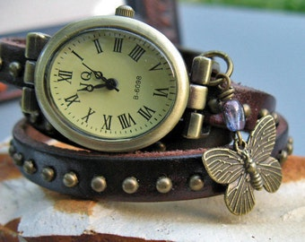 Sale - Chocolate Brown Wrap Around Wrist Watch - Leather watch band - Optional charm - Bronze watch case (Last ones)