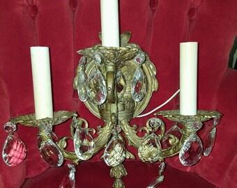 Vintage 3 Arm Light Crystal & Brass Wall Sconce Elegant Lighting
