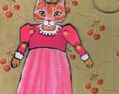 Cat Paper Doll, One of a Kind Paper Doll, Collectible Art Doll, Valentine's Day, Gift tag, Wrapping decor, orange tabby