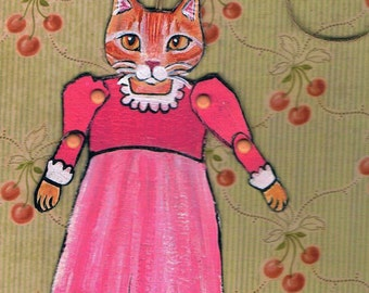 Cat Paper Doll, One of a Kind Paper Doll, Collectible Art Doll, Unique Gift tag, Wrapping decor, orange tabby, Vintage Style Art, Folk Art