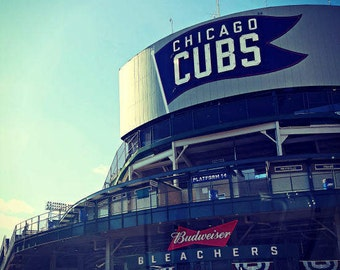 Chicago Photography, Wrigley Field photo, Chicago Cubs baseball, Chicago Photo, Chicago Art, vintage marquee, sports, architecture, men