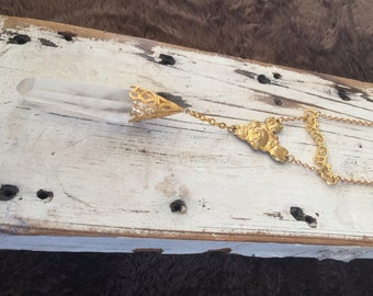 SALE Brass Filligree Crystal Shard Necklace OOAK