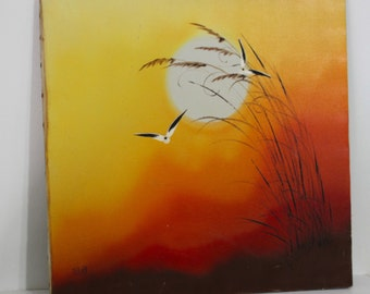 Vintage Mid Century Modern Signed Newell Sunset Seagull Orange Yellow Red Painting