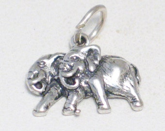 Mom and Dad couple Sterling silver 2-D gray elephant africa safari wildlife animal theme bracelet charm or necklace pendant